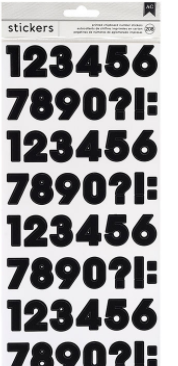 American Crafts Number Stickers-Black, 208/Pk