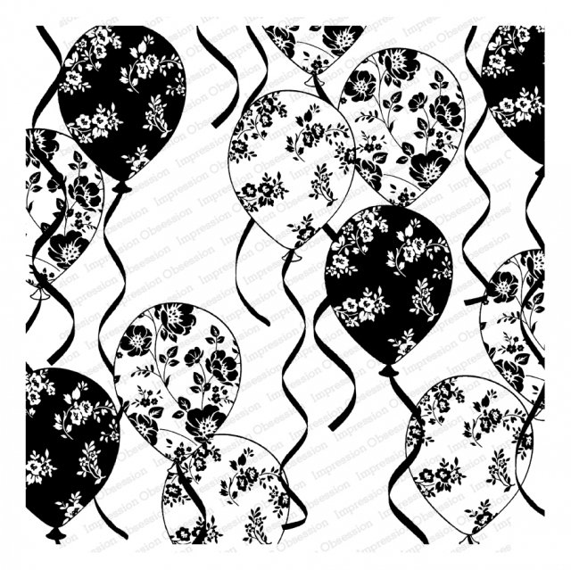 Floral Ballons Cling Rubber Stamp