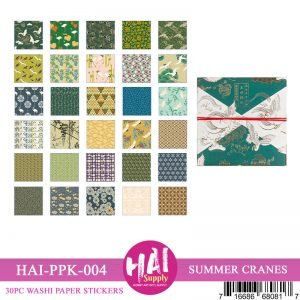 Washi Sticker Sheets Box - Summer Cranes (Green)