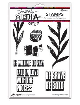 Dina Wakley Media Cling Stamps 6X9- Be Willing