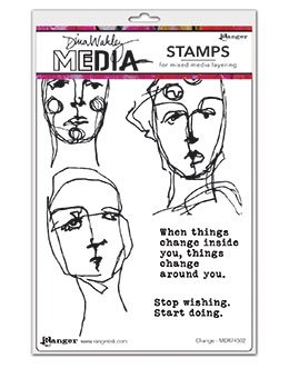 Dina Wakley Media Cling Stamps 6X9- Change