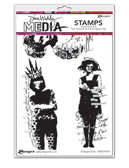Dina Wakley Media Cling Stamps 6X9-  Collaged Girls
