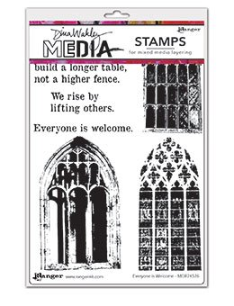 Dina Wakley Media Cling Stamps 6X9- Everyone Is Welcome