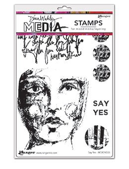 Dina Wakley Media Cling Stamps 6X9-  Say Yes