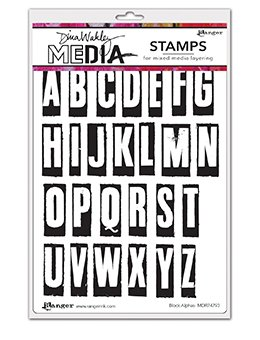 Dina Wakley Media Cling Stamps 6X9 Block Alphas