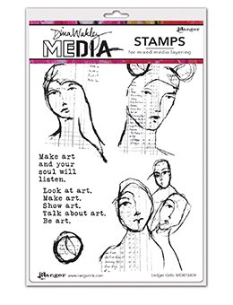 Dina Wakley Media Cling Stamps 6X9 Ledger Girls