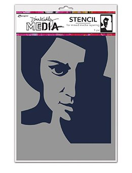 Dina Wakley Media Stencils 9X6 Pensive Face