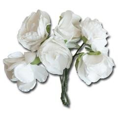 Medium White Vintage Paper Flowers