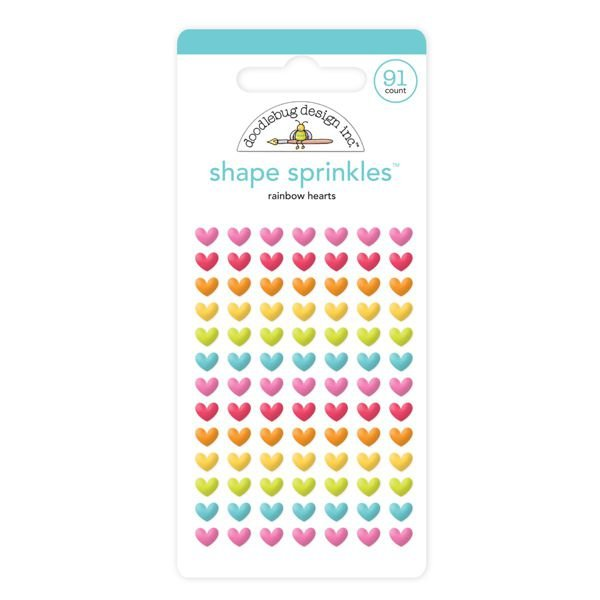 RAINBOW HEART SPRINKLES ADHESIVE GLOSSY ENAMEL SHAPES
