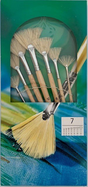 7PC FAN STYLE ARTIST BRUSH SET - PIGS HAIR  WITH COPPER PIPE
