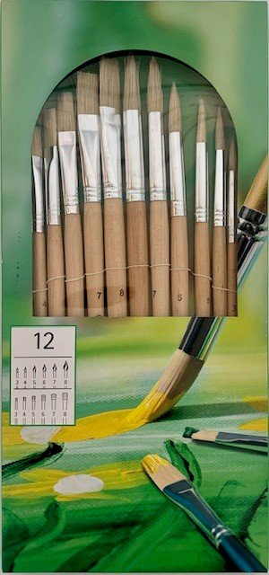 12PC FLAT & ROUND ARTIST BRUSH SET - PIGS HAIR  WITH ALUMINUM PIPE