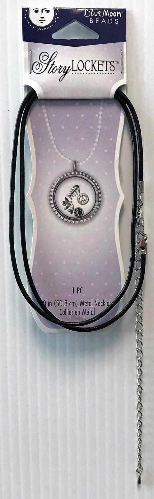BLUE MOON BEADS - STORY LOCKETS - 20 LEATHER NECKLACE - BLACK..