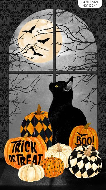 NORT-24114 99 - BLACK CAT CAPERS PANEL BY ANDREA TACHIERA CAT & PUMPKIN AT THE WINDOW 43 x 24 BLACK GREY CREAM ORANGE - ARRIVING IN JULY 2021