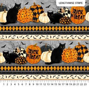 NORT-24115 99 - BLACK CAT CAPERS BY ANDREA TACHIERA CAT & PUMPKIN STRIPES BLACK GREY CREAM ORANGE- ARRIVING IN JULY 2021