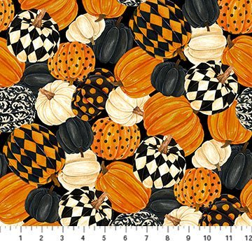NORT-24116 99 - BLACK CAT CAPERS BY ANDREA TACHIERA PUMPKINS ALL OVER BLACK GREY CREAM ORANGE - ARRIVING IN JULY 2021