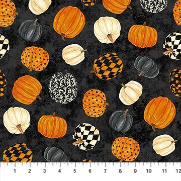 NORT-24117 99 - BLACK CAT CAPERS BY ANDREA TACHIERA SCATTERED PUMPKINS BLACK GREY CREAM ORANGE - ARRIVING IN JULY 2021