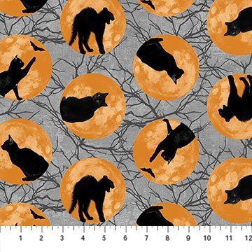 NORT-24118 95 - BLACK CAT CAPERS BY ANDREA TACHIERA CAT MOON BLACK GREY CREAM ORANGE  - ARRIVING IN JULY 2021