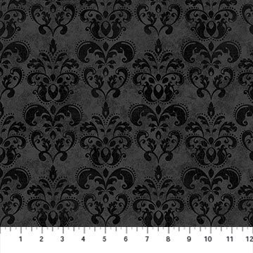 NORT-24124 99 - BLACK CAT CAPERS BY ANDREA TACHIERA DAMASK BLACK GREY - ARRIVING IN JULY 2021
