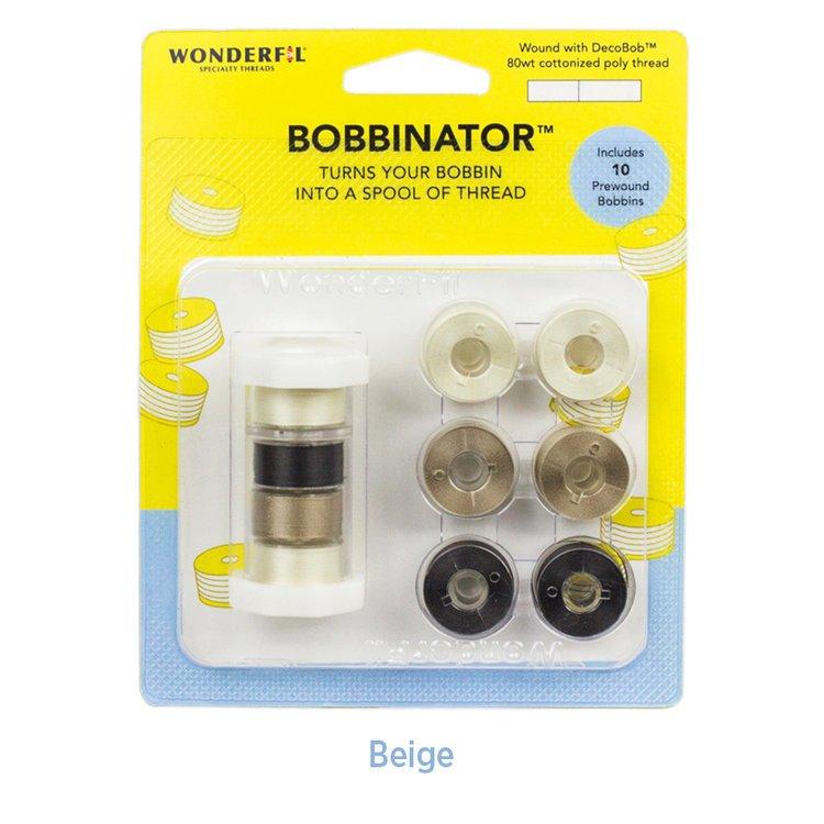 WOND-BBR15 BEIGE - BOBBINATOR 80WT COTT/POLY THREAD DECOBOB 135YDSX10PCS BEIGE