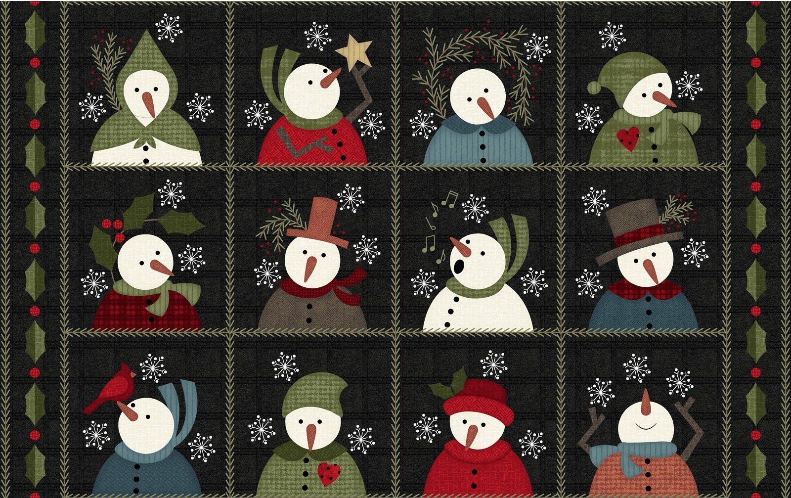 EESC-F9930 JK - SNOWDAYS FLANNEL BY BONNIE SULLIVAN SNOW SQS 9 CHARCOAL - ARRIVING IN AUGUST 021