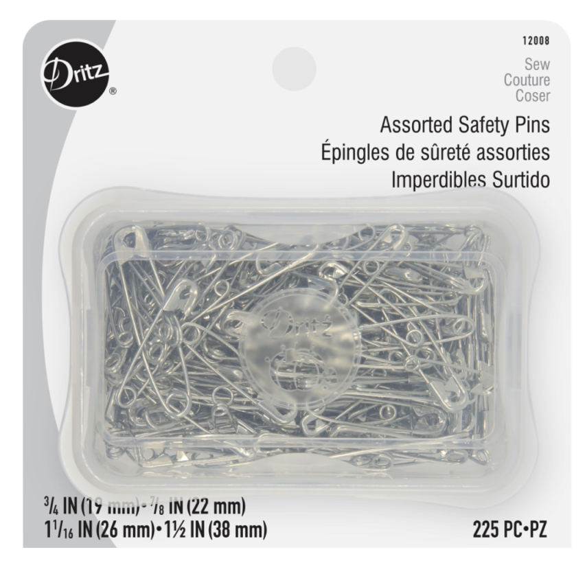 NJEF-DZ12008 - DRITZ ASSORTED SAFETY PINS IN SILVER 225PCS