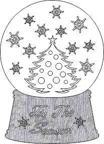 SHAN-LC017 CT - CHRISTMAS TREE SNOW GLOBE LASER CUT BY SHANIA TIS THE WH/GY