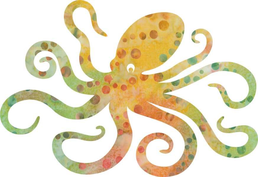SHAN-LC020 02 - OCTOPUS LASER CUTS BY SHANIA SUNGA 6X8.75 PEACH/YEL/GRN SP