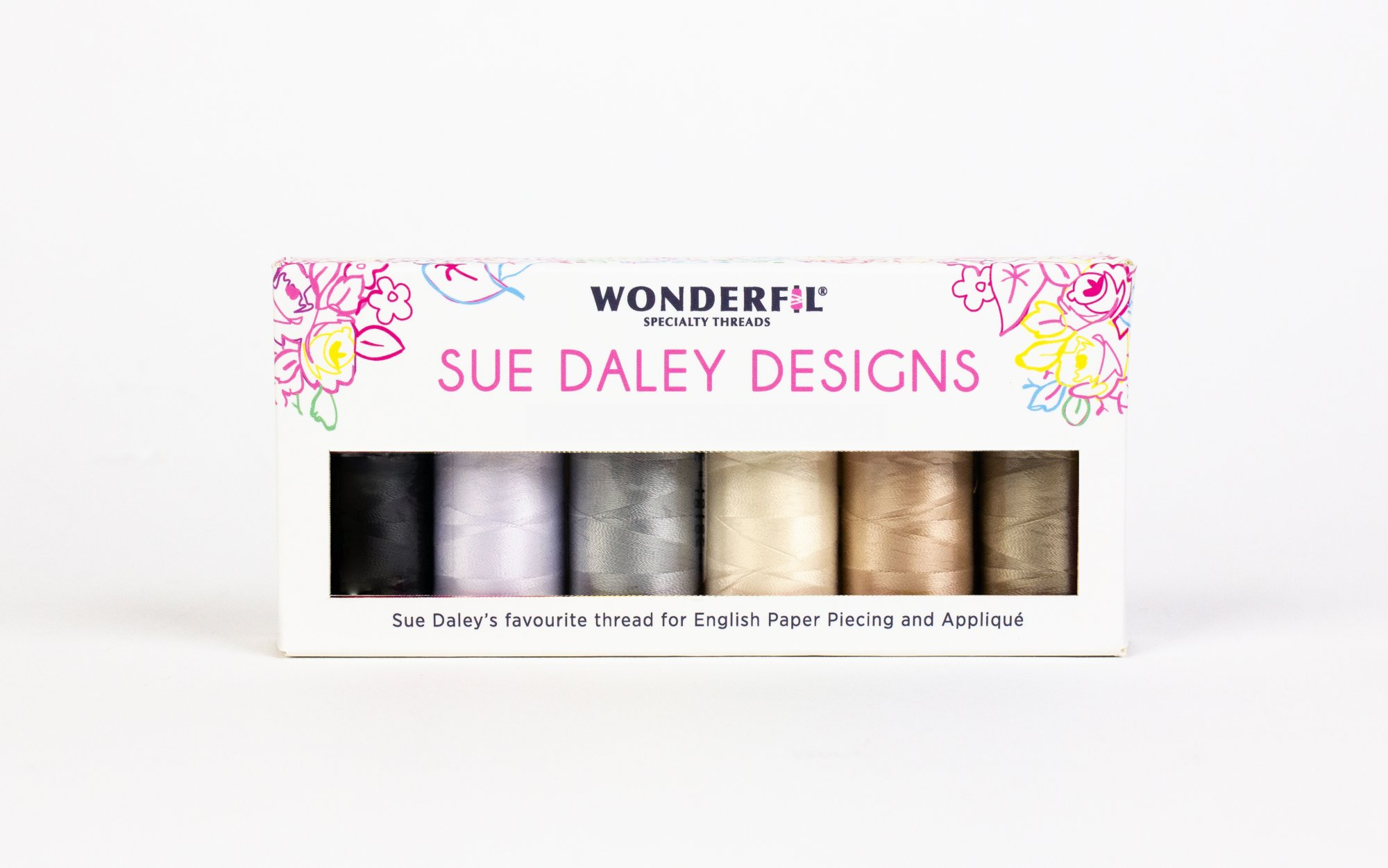 WOND-SDP NEUTRAL - SUE DALEY DECOBOB PACK(6 SPOOLS)80WT COT/POLY SMALL 250M NEUTRAL