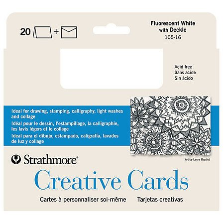 CREATIVE CARDS WITH ENVELOPES FLUORESCENT WHITE WITH DECKLE 10PK 5X7