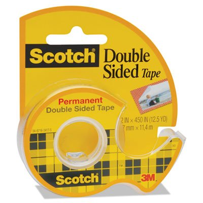 Double-Sided Permanent Tape in Handheld Dispenser, 1 Core, 0.5 x 37.5 ft, Clear