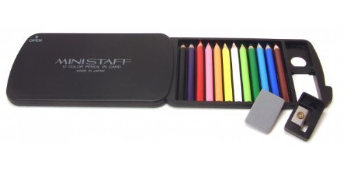 12 Mini Colored Pencils with Card