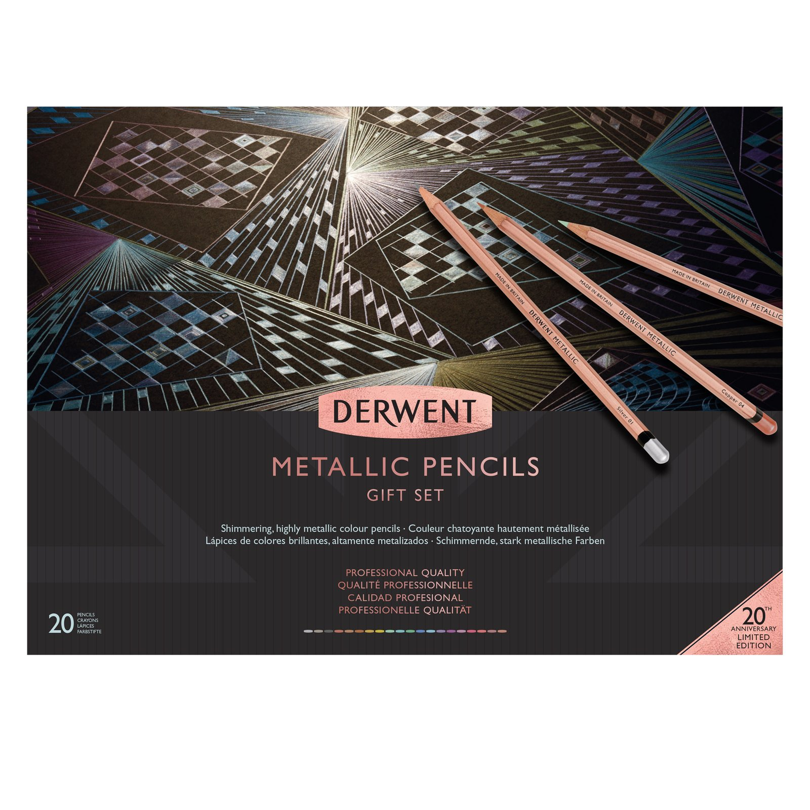 Derwent 20th Anniversary 20 Color Metallic Pencil Set