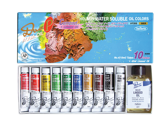 DUO Compact Set of 10 Colors (10ml) & Linseed Oil