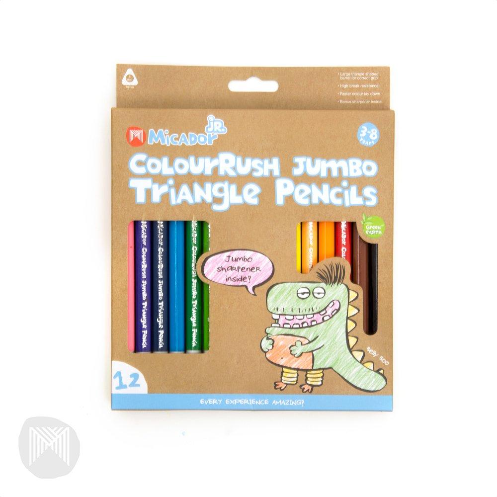 Micador Jr. ColouRush Jumbo Triangle Pencils 12 Color