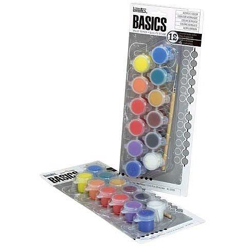 BASICS 12-Color Acrylic Paint Pots Set