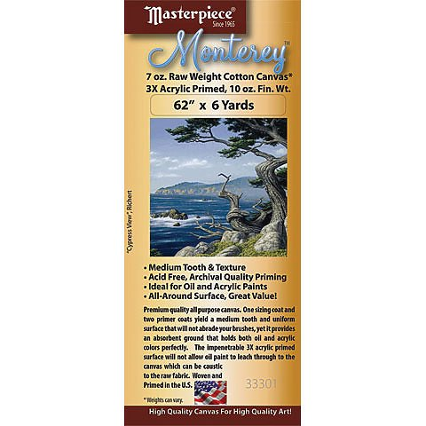 Monterey Acrylic Primed Cotton Canvas Roll, 62 x 3 yds.