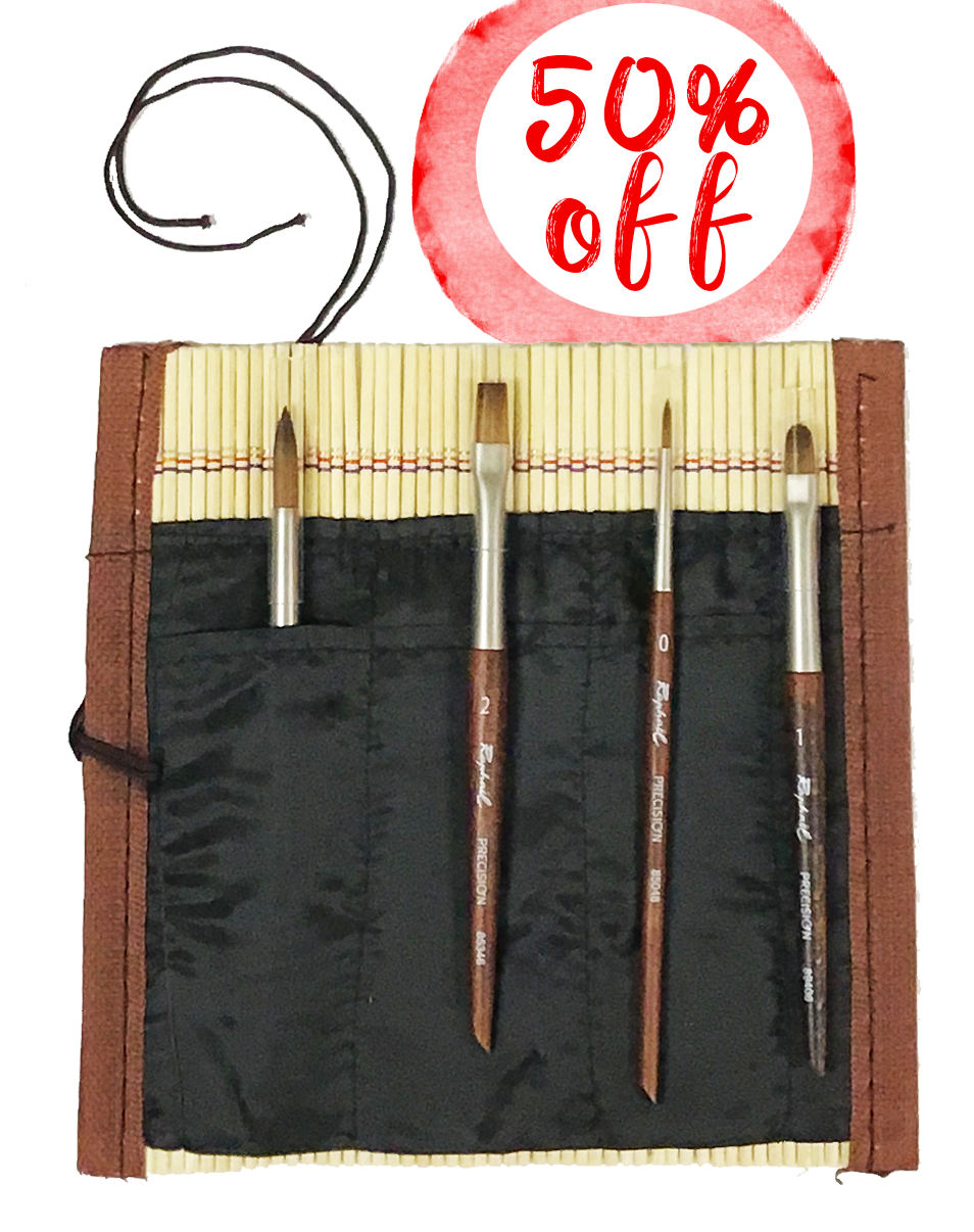 Raphael 4pc Travel Mini Watercolor Brush Set with Bamboo Roll Up