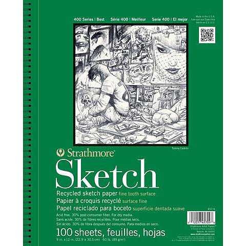 SKETCH PAD RECYCLED 400 SERIES SPIRAL-BOUND