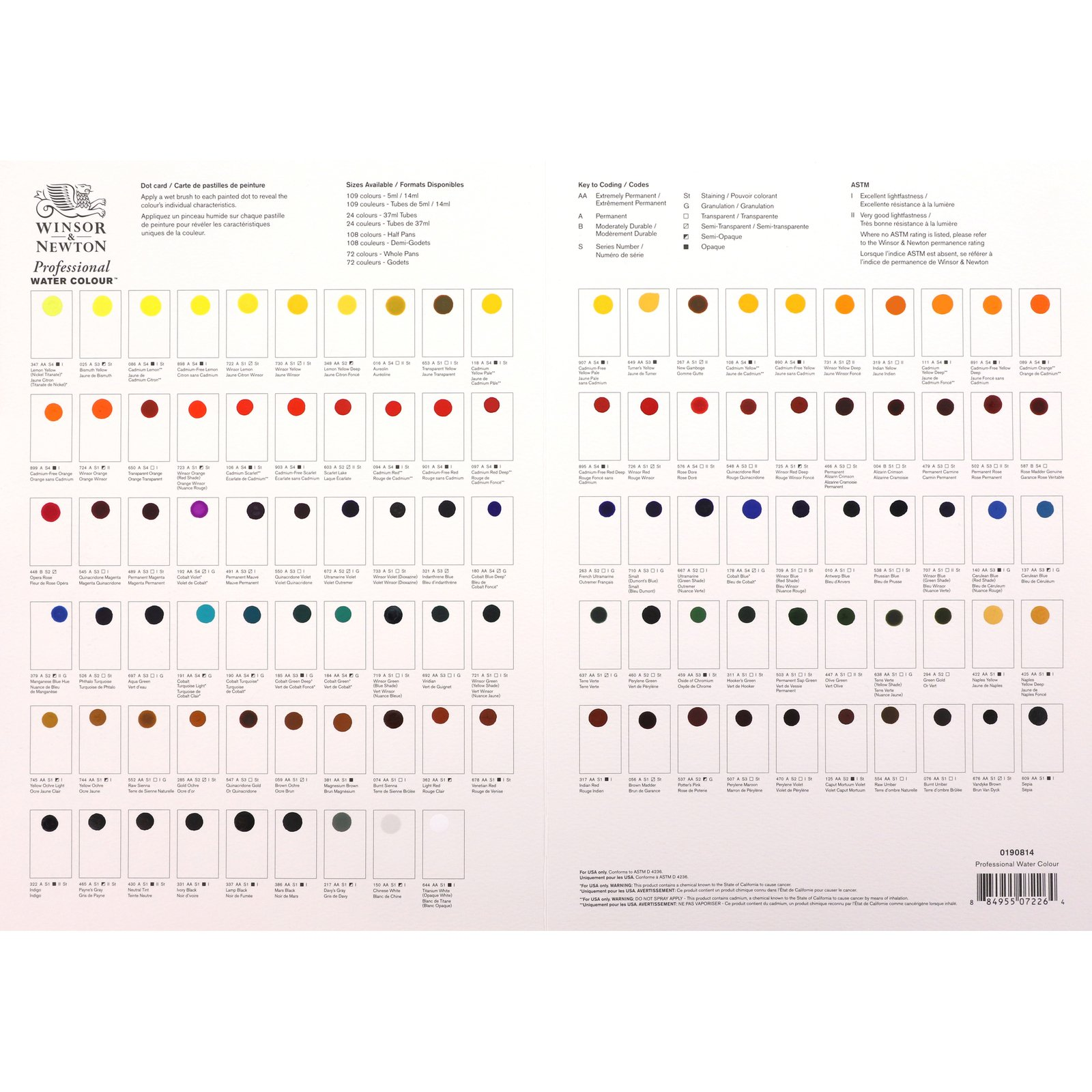W&N Professional Watercolor Dot Card, Full Range