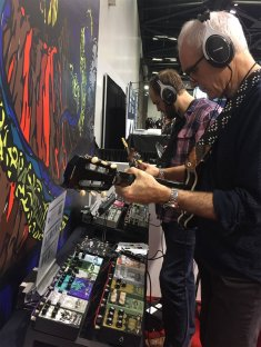 Eric and Gordon checking out Earthquaker pedals NAMM 2020