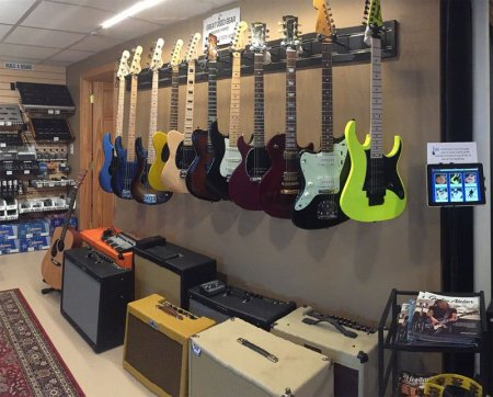 Used guitars and amps on display
