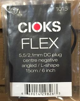 Cioks CIO-1015 DC Plug Centre Negative angled L-Shape cable 6 in