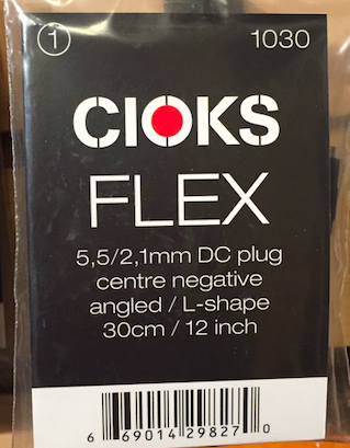 Cioks CIO-1030 DC Plug Centre Negative angled L-Shape cable 12 in