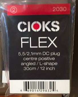 Cioks CIO-2030 DC Plug Centre Positive angled L-Shape cable 12 in