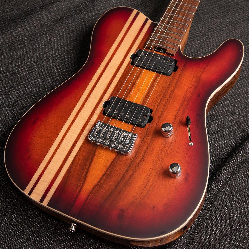 ESP USA TE-II Koa w/ Flame Maple Racing Stripes and Roasted Ash Body