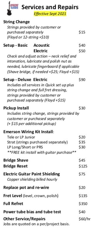 Service and Repair Price List