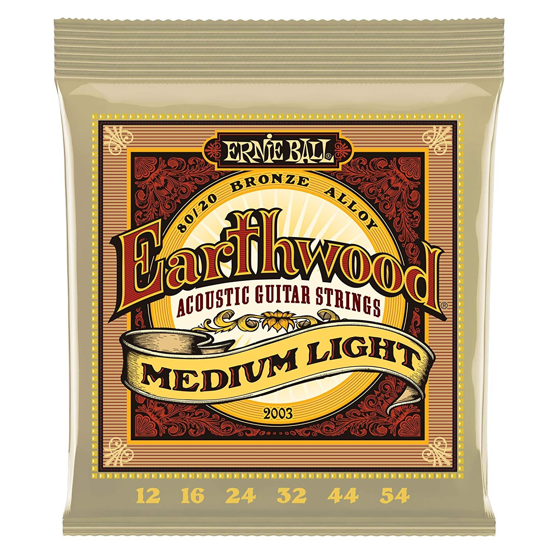 Ernie Ball Earthwood 80/20 Bronze Acoustic Strings Medium Light 12-54