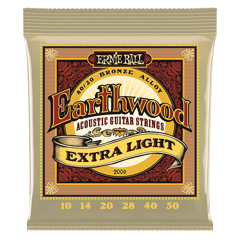 Ernie Ball Earthwood 80/20 Bronze Acoustic Strings Extra Light 10-50