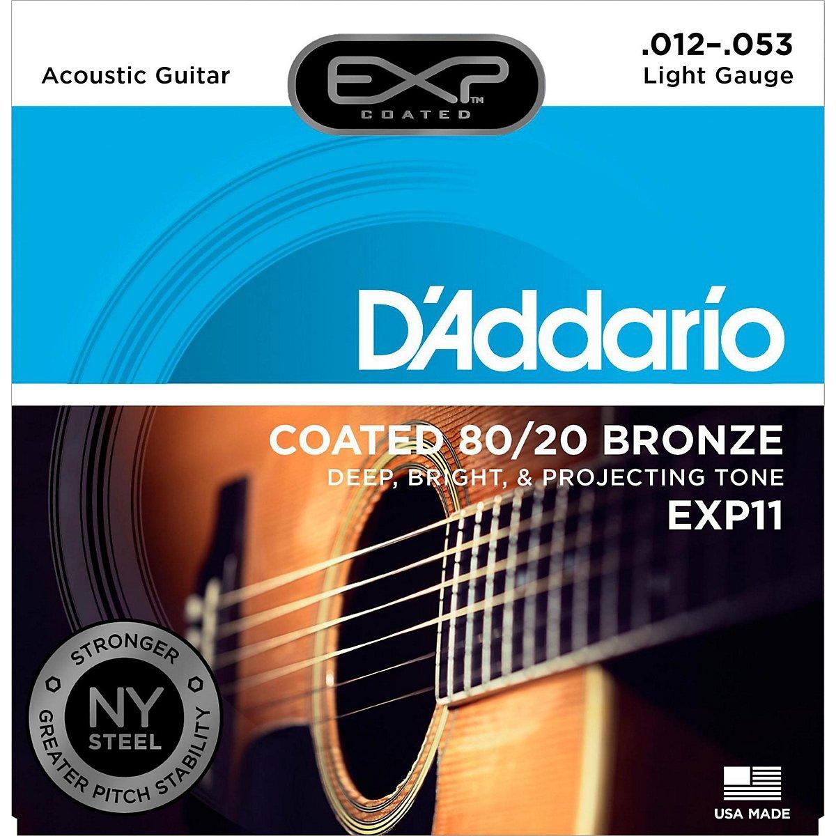 D'Addario EXP Coated 80/20 Acoustic Guitar Strings Light .012-.053