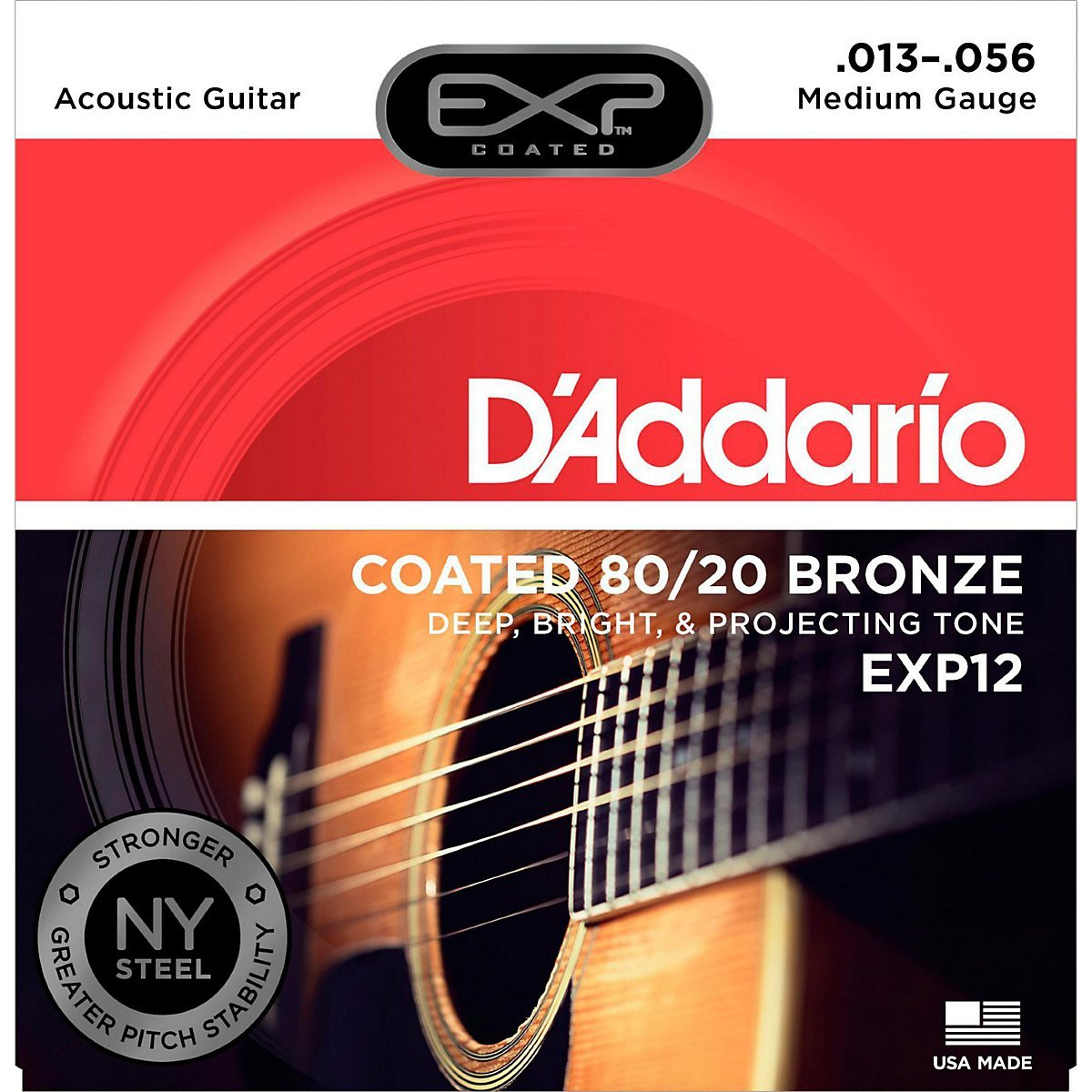 D'Addario EXP Coated 80/20 Acoustic Guitar Strings Medium 13-56